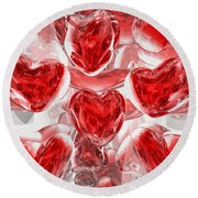 Hearts Afire Abstract Round Beach Towel
