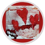 Hearts Afire Round Beach Towel