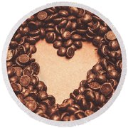 Hearts And Chocolate Drops. Valentines Background Round Beach Towel