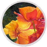 Hearts Of Poppies Round Beach Towel
