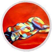 Heat Round Beach Towel by Helena Wierzbicki