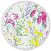 Heather And Gorse Watercolor Illustration Pattern Round Beach Towel