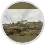 Heather Landscape Round Beach Towel