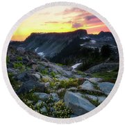 Heather Meadows Sunset Round Beach Towel