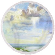 Heavenly Clouded Beauty Abstract Realism Round Beach Towel