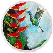 Heavenly Heliconia Round Beach Towel