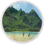 Heavenly Kauai Lagoon Round Beach Towel