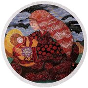 Heavenly Mother And Child Round Beach Towel