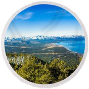 Heavenly South Lake Tahoe View 1 - Left Panel Round Beach Towel