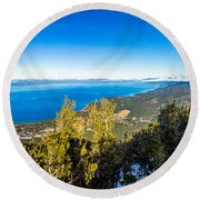 Heavenly South Lake Tahoe View 1 - Right Panel Round Beach Towel