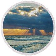 Heavenly Sunrise Panorama At Riviera Beach  Round Beach Towel