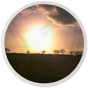 Heavenly Sunset Over Suffolk Round Beach Towel