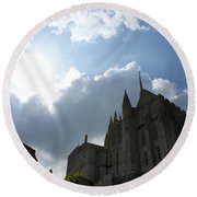 Heavens Above Mont St. Michel Abbey Round Beach Towel