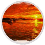 Heavens Of Fire 2 Round Beach Towel