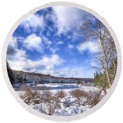 Heavy Snow At The Green Bridge Round Beach Towel