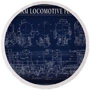 Heavy Steam Locomotive Blueprint Round Beach Towel