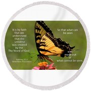 Hebrews Scripture Butterfly Round Beach Towel