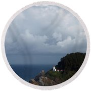 Heceta Head Lighthouse Round Beach Towel