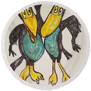 Heckle And Jeckle Round Beach Towel