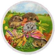 Hedgehogs Inside Scarf Round Beach Towel