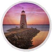 Hefner Lighthouse Round Beach Towel