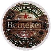 Heineken Beer Wood Sign 1a Round Beach Towel