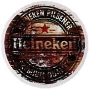 Heineken Beer Wood Sign 1j Round Beach Towel
