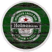 Heineken Beer Wood Sign 2 Round Beach Towel