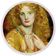 Helen Of Troy Round Beach Towel by Dante Charles Gabriel Rossetti