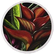 Heliconia Flower Round Beach Towel