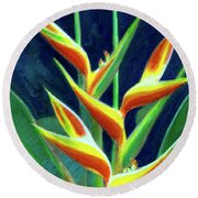 Heliconia Flowers #249 Round Beach Towel