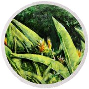 Heliconia Flowers 6 Round Beach Towel