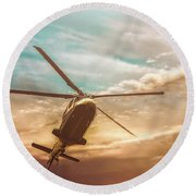 Helicopter Round Beach Towel by Bob Orsillo