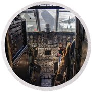 Helicopter Cockpit Round Beach Towel