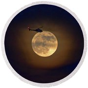 Helicopter Moon And Clouds I Round Beach Towel
