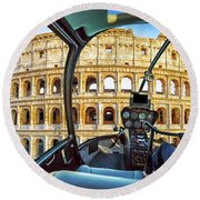 Helicopter On Colosseo Round Beach Towel