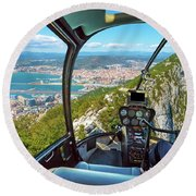 Helicopter On Gibraltar Rock Round Beach Towel