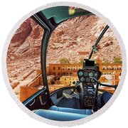 Helicopter On Monastery Of St Catherine Round Beach Towel