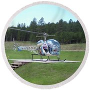 Helicopter Ride South Dakota Round Beach Towel