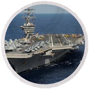 Helicopter's Approaches The Flight Deck Round Beach Towel