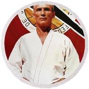 Helio Gracie - Famed Brazilian Jiu-jitsu Grandmaster Round Beach Towel