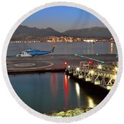 Heliport In The Vancouver's Port Round Beach Towel