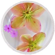 Hellebore Flower Art Round Beach Towel