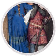 Hellelil And Hildebrand Or The Meeting On The Turret Stairs Round Beach Towel