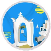 Hellenic Holiday Round Beach Towel