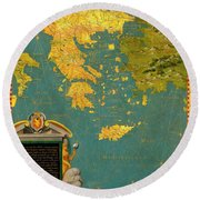 Hellenic Peninsula Greece, Albania, Bosnia And Bulgaria Round Beach Towel
