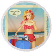Hello From The 50s Round Beach Towel