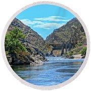 Hells Canyon Dam  Round Beach Towel