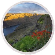 Hells Canyon View Round Beach Towel
