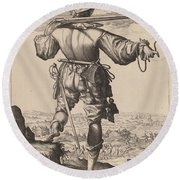 Helmeted Musketeer Round Beach Towel
